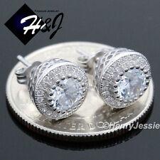 MEN WOMEN 925 STERLING SILVER 9MM LAB DIAMOND ICED BLING ROUND STUD EARRING*E80