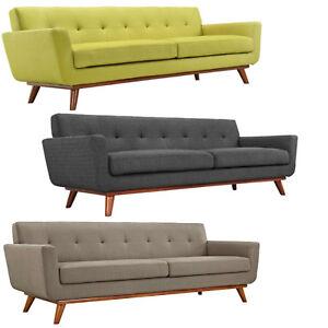 "Mid Century Classic Fabric Sofa 90"" Wide In Green, Charcoal Gray, Granite Gray"