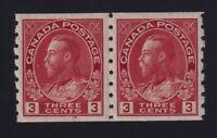 Canada Sc #130b (1924) 3c carmine Admiral COIL PAIR Die II Mint VF NH