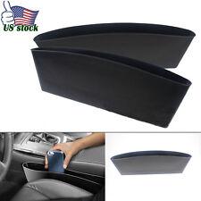 2x Catch Catcher Storage Organizer Box Caddy Car Seat Slit Pocket Matte Black
