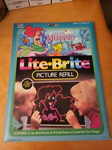 Lite Brite Picture Refills Disney The Little Mermaid 12 Pictures + 24 Blank Pgs