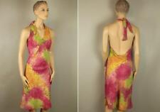 ADOLFO DOMINGUEZ Spain Bright Halter Summer Dress Open Back 44