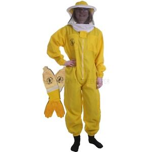 Beekeeping Yellow Basic Round Suit Ventilated Gloves Set