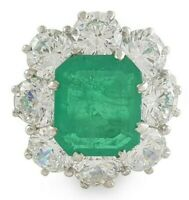 925 Sterling Silver Ring Green Emerald Cut White Round Vintage Style -À la carte