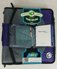 NEW Case It Dual 101 purple gray 3 inch 2 in 1 D-Ring zip around binder w/ strap