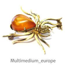 Jugendstil Kreuz Spinne Bernstein Silber Brosche silver brooch amber spider
