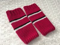 HANDMADE DEEP PINK GIRLS CROCHET LEG WARMERS  - made in PERTH WA