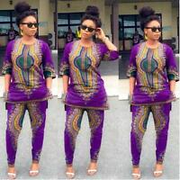 2016 Women Fashion African Print Dashiki Casual Straight Print Tops +Pants Set