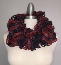"extra long 80/"" Navy Blue Shimmer Handmade Crocheted Fashion Ruffle Scarf"