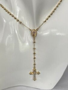 """Solid Sterling Silver & Yellow Gold Beaded Rosary Chain Necklace, 21"""", 0621"""