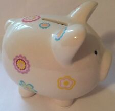NWT Tiny Ideas My First Piggy Bank Beige Flowers Infant Baby Toddler