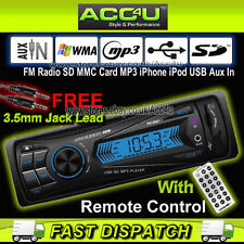 Non CD RADIO STEREO AUTO SD MMC CARD MP3 USB iPod iPhone AUX in unità di testa del Giocatore +