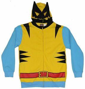 Wolverine (Marvel Comics) Mens Hoodie Sweatshirt - Classic Yellow Costume Frone