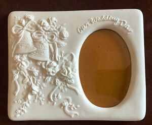 """CERAMIC WEDDING PICTURE FRAME 8"""" BY 7"""" (OUR WEDDING DAY)"""