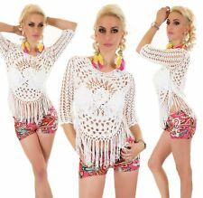 Sexy Italy Moda Häkel Shirt Tunika Bluse One Size 34 - 38 Weiß