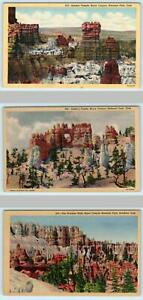 3 Postcards BRYCE CANYON National Park, UT~ Ostler's Castle, Temple, Window Wall