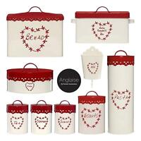 Anglaise Tea Coffee Sugar Canisters Biscuit Bread Peg Holder Red Cream Storage