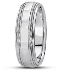 6mm 18K Solid White Gold Double Milgrain Comfort Fit Wedding Band Ring Size 9