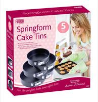 Round Cake Tin Baking Pan Tray Non Stick Spring Form Loose Base Set Of 3 & 5