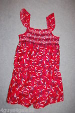 Toddler Girls Jumper Shorts RED WHITE BLUE BUTTERFLY 1 PC ROMPER Smocked Top 5T