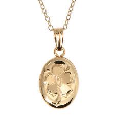 14kt Gold Filled Hand Carved Flower Child Oval Locket Necklace