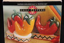 New Clay Art Chili Peppers Handpainted 3 Piece Napkin Holder / Salt & Pepper Set