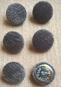 Carbon Pimlico Chenille Velvet 36L/23mm Upholstery Loop Back Buttons Dark Grey