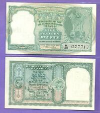 1 GEM UNC NOTE Rs 5 B RAMA RAU C-2 Second Issue Incorrect Hindi