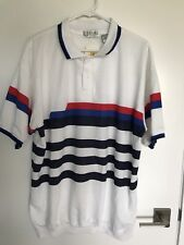 Vintage Players By Van Heusen Striped White Polo Golf Shirt NWT NOS Size 2XL