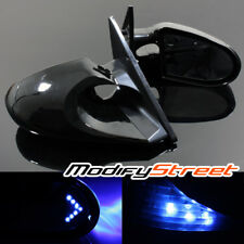 FOR 89-94 NISSAN 240SX S13 K6 SIDE WING POWER MIRRORS LED BLUE ARROW SIGNAL