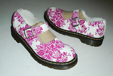 Dr DOC MARTEN Buckle Mary Jane Shoes WHITE/PINK Velvet Floral US 9 - UK 7