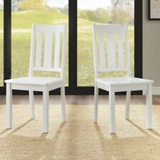White Dining Chairs ( Set of 2 ) Kitchen Wood Furniture Mission Style Wooden NEW