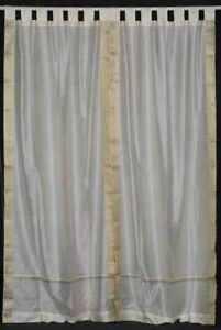 Cream  Tab Top  Sheer Sari Curtain / Drape / Panel   - 43W x 84L - Piece