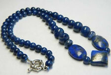 """Real Natural Blue Egyptian Lapis Lazuli Beads Necklace 18"""" LL001"""