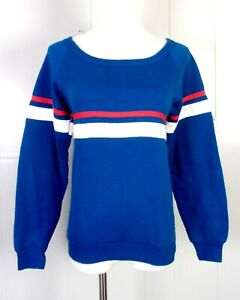 vtg 80s Favorites T.M. Blue Red White Striped Raglan Sleeve Sweatshirt XS/S