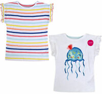 Girls 2 Pack Top Kids New T shirt Set White Stripe 2 Psc Age 1 2 3 4 5 6 Years