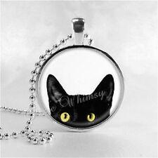 PEEPING TOM CAT Pendant Necklace Black Cat Necklace Peeking Cat Jewelry Handmade