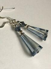 925 sterling silver earring hooks Art Deco style Montana blue Crystal