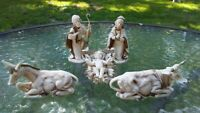 Vintage Christmas Nativity Creche Animal & Figure Set Of 5 Plastic Made In Italy