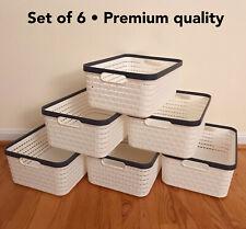 Set of 6, Top quality Multifunctional Plastic Storage Basket Organizer (Large)