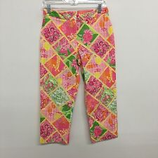 Lilly Pulitzer womens pants cropped patchwork vibrant giraffe Size 6P