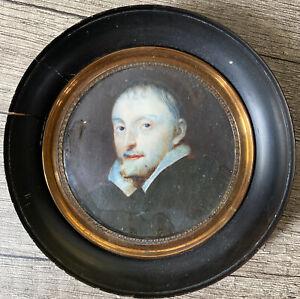 Tableau Romantisme Miniature Portrait d'Homme Notable Peinture XIXème Anonyme