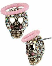 Betsey Johnson Angel & Devil Pave Skull Stud Earrings NWT $30