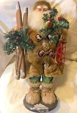 "Santa Claus Christmas Holiday Figurine with skis, sled and Foliage 17"" tall"