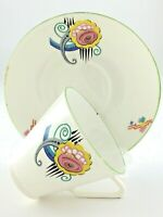 Teacup Saucer Art Deco Bone China Made in England T003