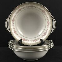 Set of 4 VTG Lugged Cereal Bowls Noritake Glenwood 5770 Pink Rose Platinum Japan