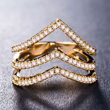 925 Silver,gold,rose Gold Creative Women Jewelry White Sapphire Ring Size 6-10