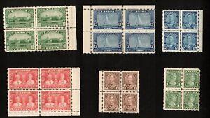 CANADA, SCOTT # 211-216 COMPLETE BLOCK SET 1935 SILVER JUBILEE KGV MNH VF