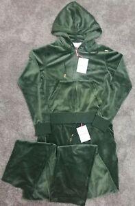 Juicy Couture Tracksuit Set Dark Moss*Velvour* Joggers Sz: L ; Hoodie Sz: M, NEW