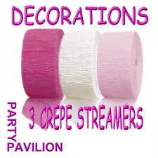 Crepe Streamers Bright Pink White Girls Christening Communion Party Decorations